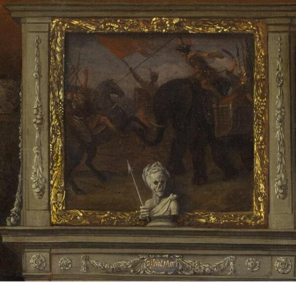 Ян Стен, Фантастический интерьер с семьей Геррита Шоутена, фрагмент «Картина над камином»