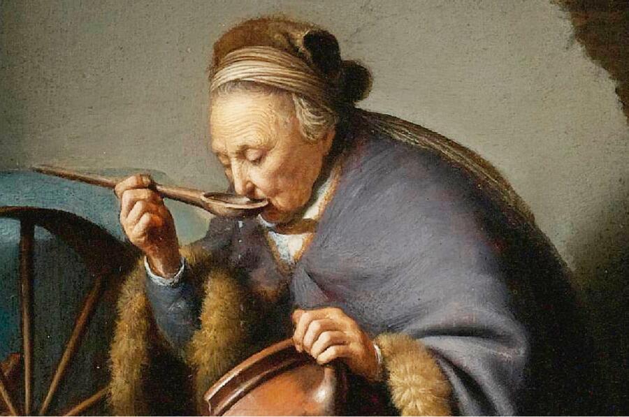 Герард Доу, Старушка ест кашу, фрагмент «Ложка»