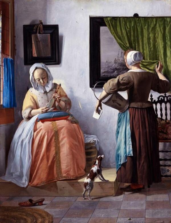 Габриэль Метсю, Женщина читает письмо, 1664, 52х40 см, Национальная галерея, Дублин, Ирландия