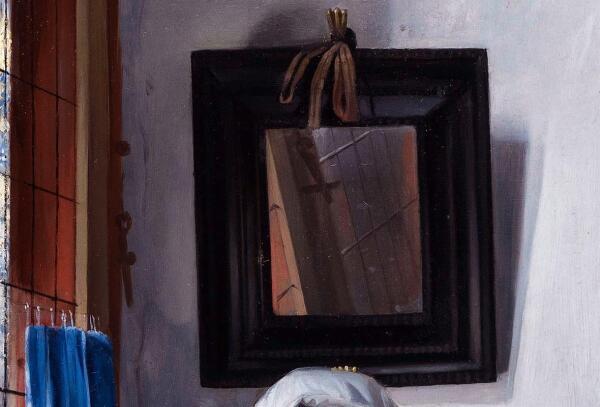 Габриэль Метсю, Женщина читает письмо, фрагмент «Зеркало и трещина вдоль окна»