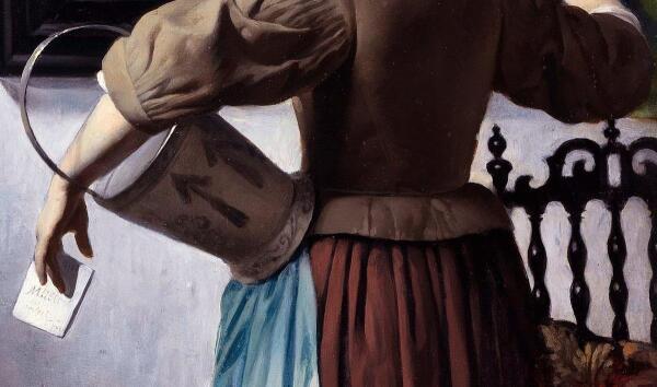 Габриэль Метсю, Женщина читает письмо, фрагмент «Конверт с автогрфом художника»