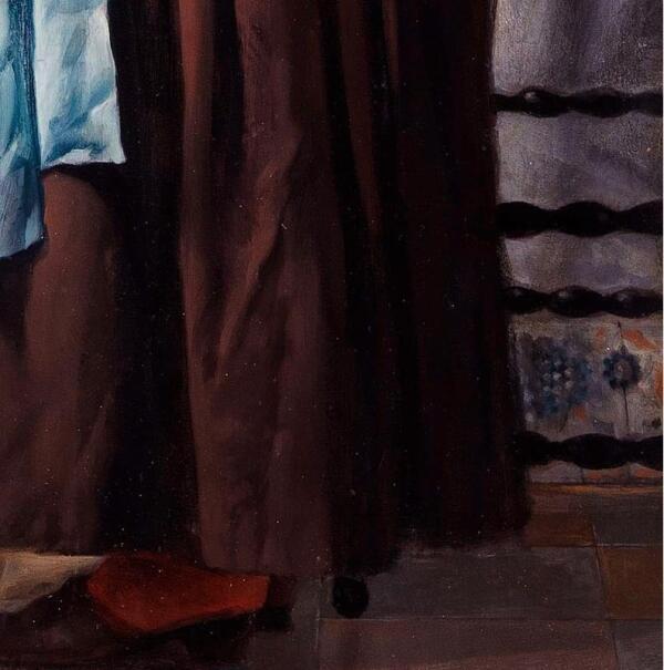 Габриэль Метсю, Женщина читает письмо, фрагмент «Цветные панельки»