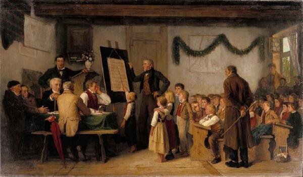 Альберт Анкер, Школьный экзамен,1862, 103х175 см, частная коллекция
