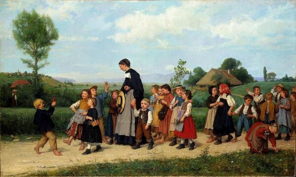 Альберт Анкер, Школа на прогулке, 1872