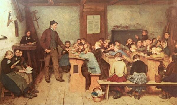 Альберт Анкер, Деревенская школа в 1848 году,1896,.104x175 см, Kunstmuseum, Basel, Switzerland