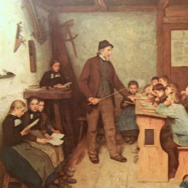 Деревенская школа в Инсе в 1848 году, фрагмент «Верстак, циркуль, фуганок»