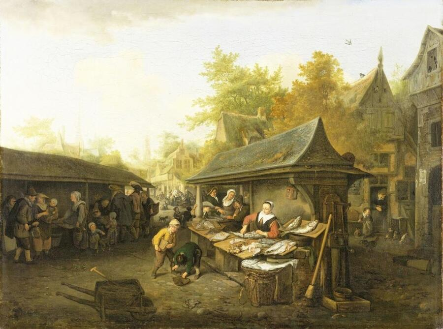 Корнелис Дюсарт, Рыбный рынок, 1683, 69х91 см, Rijksmuseum, Амстердам, Нидерланды