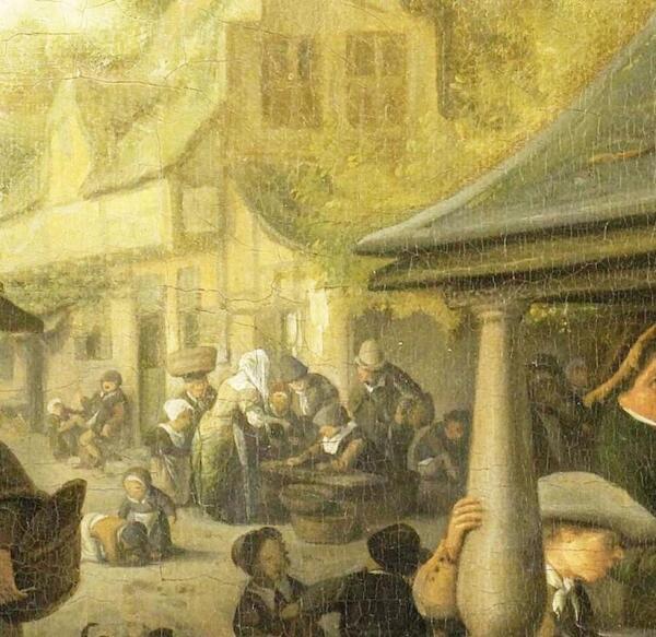 Корнелис Дюсарт, Рыбный рынок, фрагмент «У стены дома»