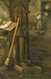 Корнелис Дюсарт, Рыбный рынок, фрагмент «Водоразборная колонка»