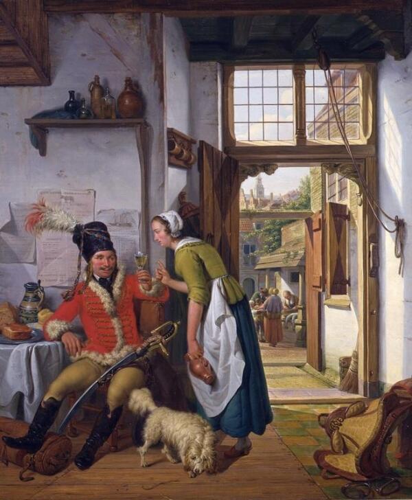 Абрахам ван Стрий,  Гусар и служанка, 1825, 72х61 см, частная коллекция
