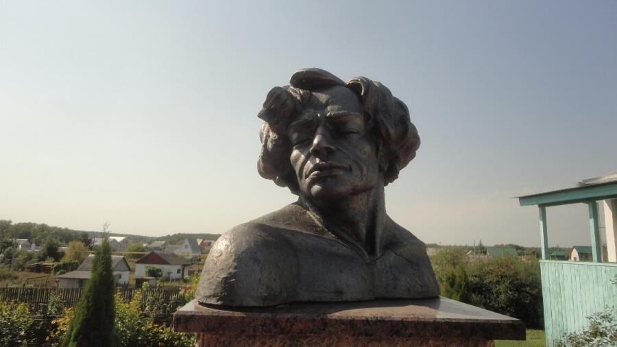 Бюст В. Ерошенко во дворике Дома-музея