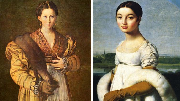 Горжетки на картинах: «Антея» Пармиджанино, 1531-1534 (слева), «Портрет мадемуазель Ривьер» Ж. Энгр, 1805 (справа).