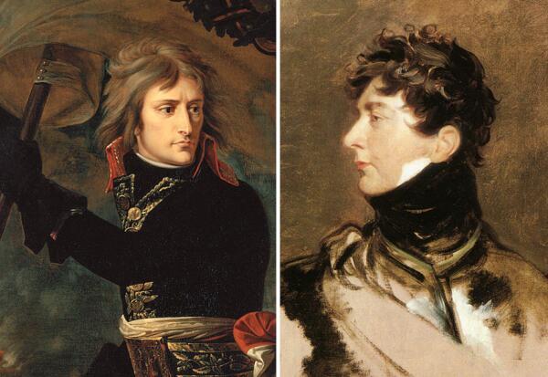 Чёрные шейные платки на портретах Наполеона I и Георга IV.