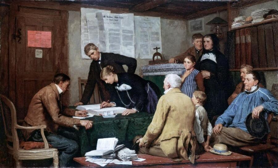 Альберт Анкер, Гражданское бракосочетание, 1887, 76x126 см, Kunsthaus, Цюрих, Швейцария
