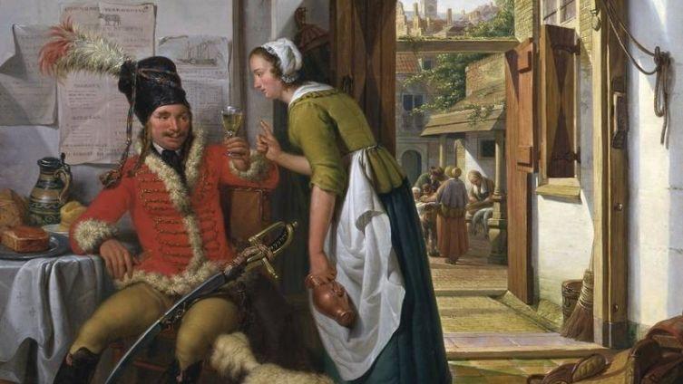 Абрахам ван Стрий, «Служанка и гусар». Что она от него хочет?