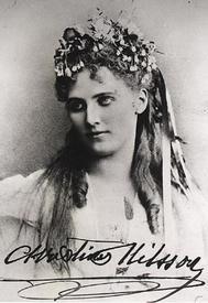 Портрет Кристины Нильссон с автографом