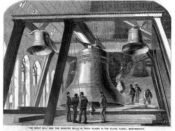 Биг Бен (в центре) на иллюстрации из The Illustrated News of the World от 4декабря 1858