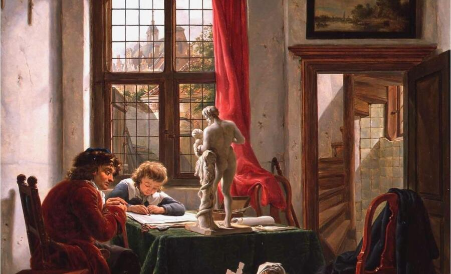 Абрахам ван Стрий, Урок рисования, фрагмент «Гипс»