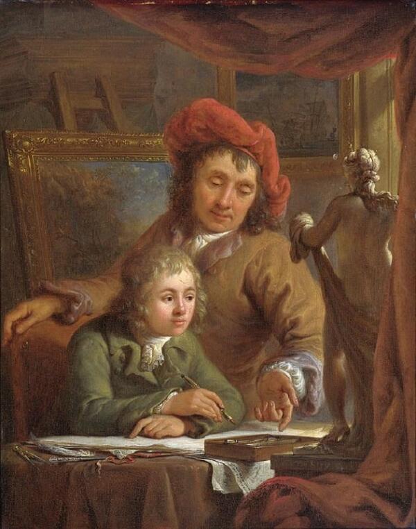 Абрахам ван Стрий, Урок рисования 25х20 см Rijksmuseum, Амстердам, Нидерланды