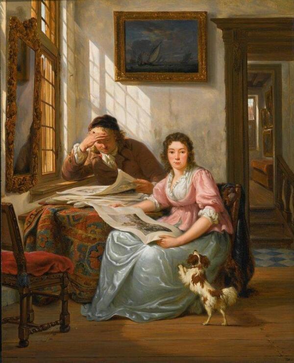 Абрахам ван Стрий, Коллекционер с женой, 44х36 см, частная коллекция