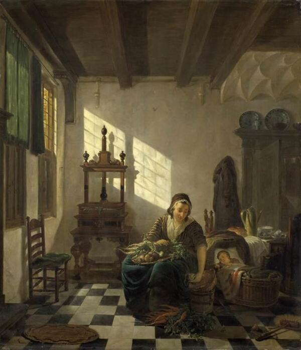 Абрахам ван Стрий, Домохозяйка,  1800, 57х49 см, Rijksmuseum, Амстердам, Нидерланды