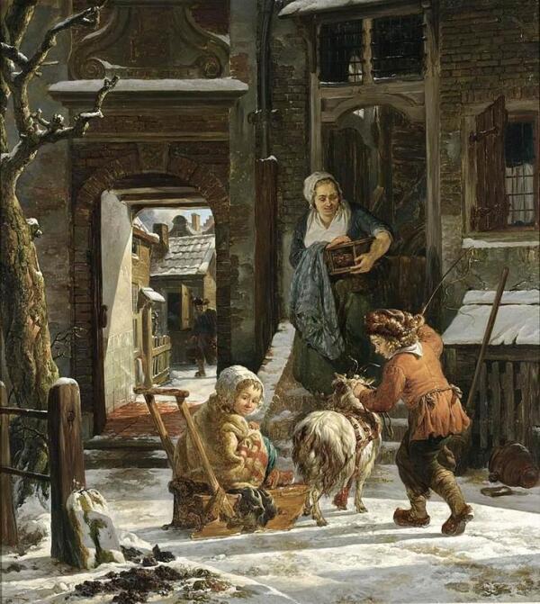 Абрахам ван Стрий, Зимняя сценка, 61х55 см, частная коллекция