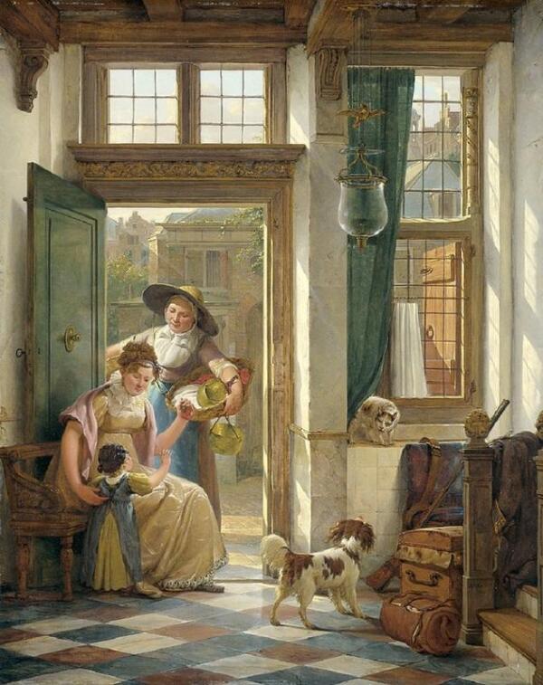 Абрахам ван Стрий, Продавщица вишни в дверях, 1816, Rijksmuseum, Амстердам, Нидерланды