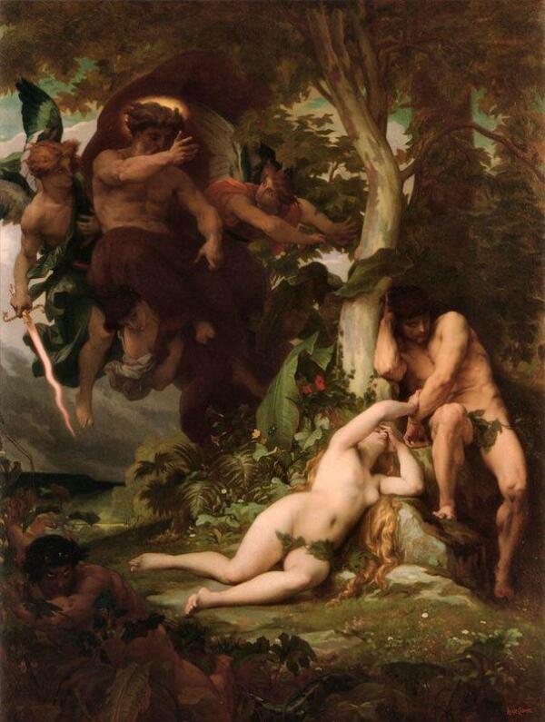 Александр Кабанель, Изгнание из рая, 1867, 192х94 см, частная коллекция