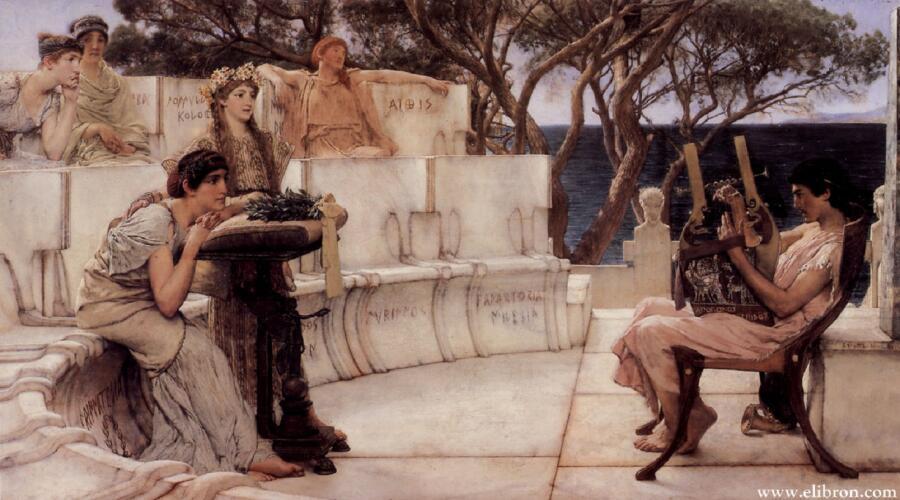 Алма Тадема сэр Лоренс, Сафо и Алкей, 1881, 66х122 см, Walters Art Museum, Балтимор, Мериленд, США