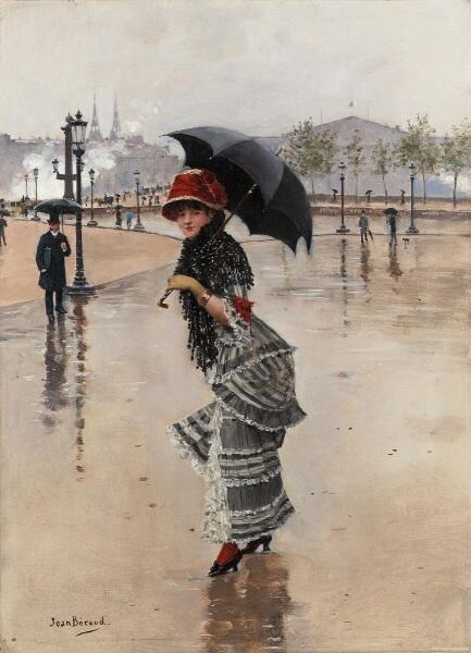 Жан Беро, Дождливый день на Елисейских полях, 1885, 35х25 см, частное собрание
