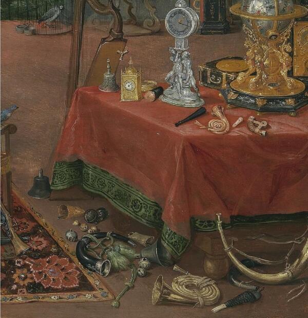 Ян Брейгель Старший, Слух, фрагмент «Колокольчики и трубы»