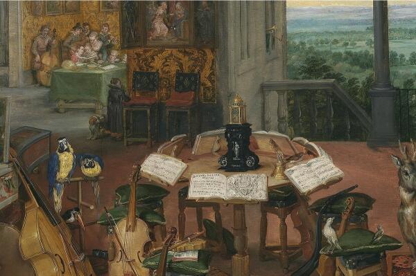 Ян Брейгель Старший, Слух, фрагмент «Репетиционный стол»