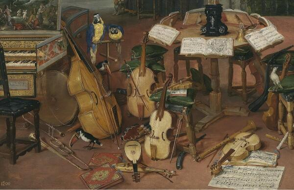 Ян Брейгель Старший, Слух, фрагмент «Клавесин и струнные»