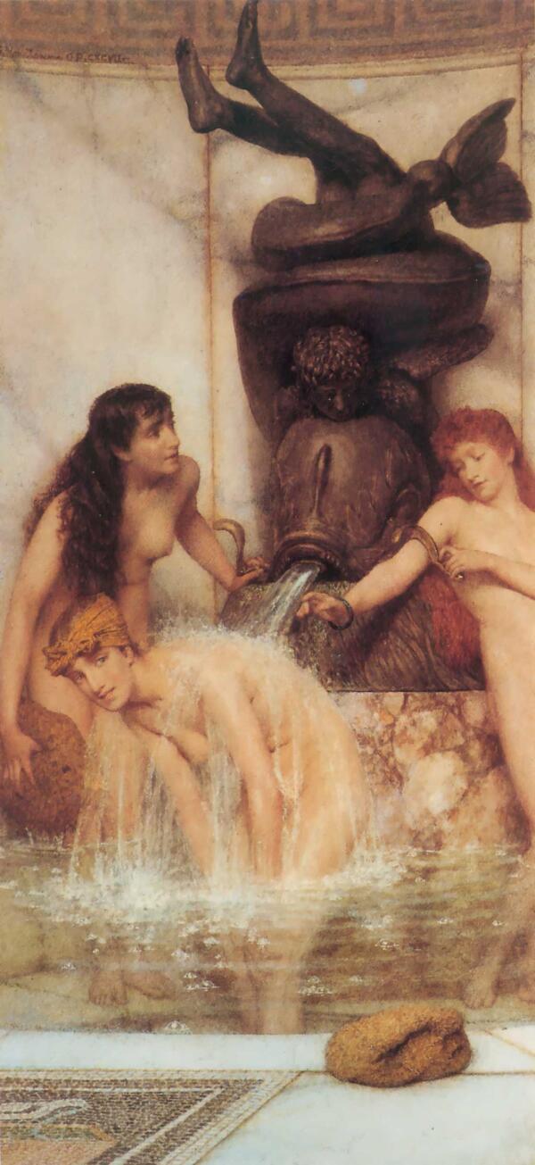 Альма-Тадема сэр Лоуренс, Скребки и мочалки, 1879, 32х14 см, частная коллекция