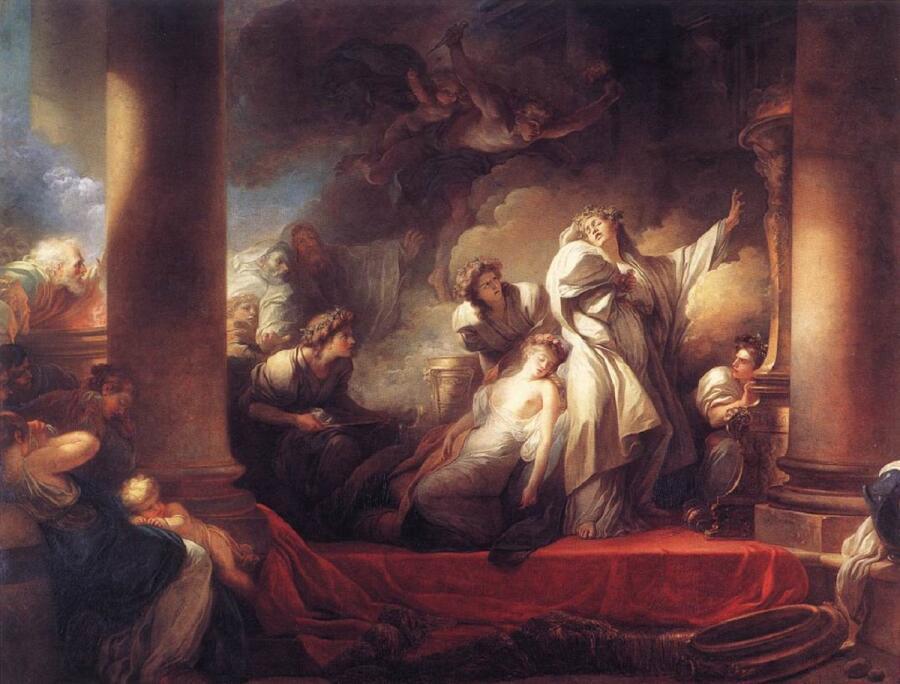 Фрагонар, Корес и Каллироя, 1765, 309х400 см, Лувр, Париж, Франция
