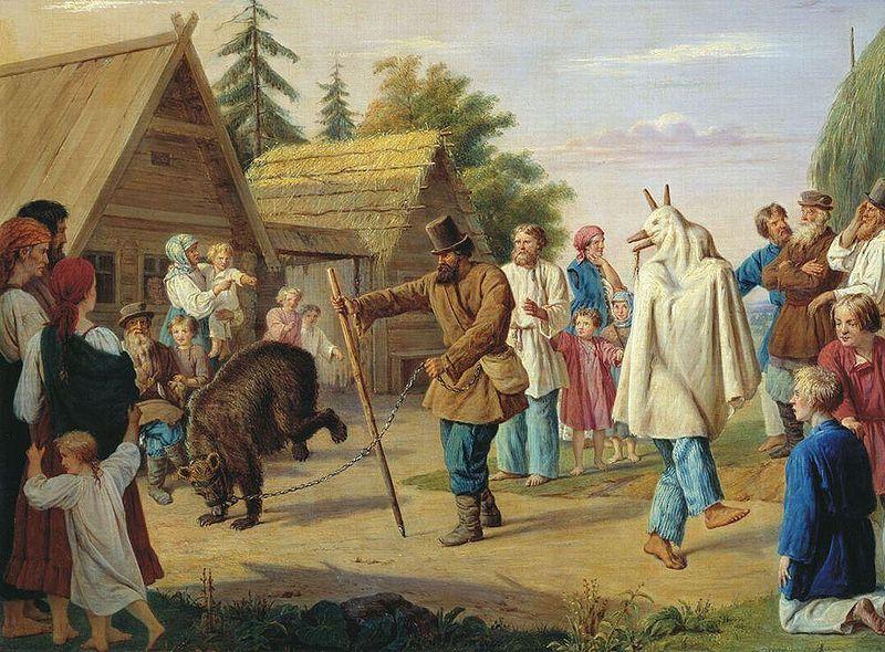 Ф.Н. Рисс. Скоморохи в деревне. 1857