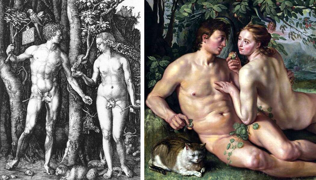 Кошку нередко изображали у ног Адама и Евы в Раю накануне грехопадения. На гравюре Дюрера (слева) можно видеть, что она пока ещё совершенно спокойно сосуществует рядом с мышью