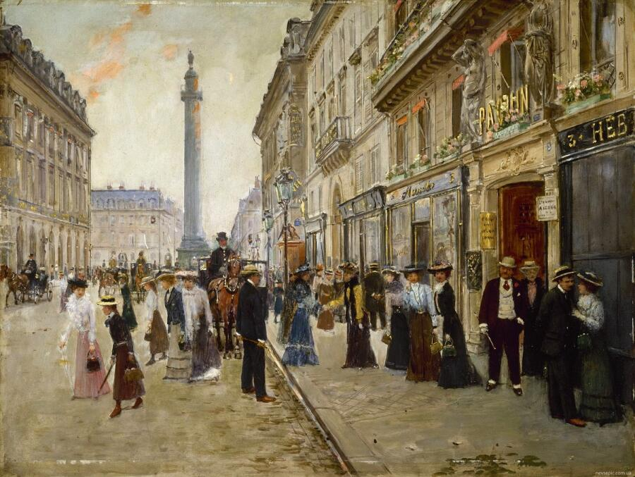 Жан Беро, Служащие выходят из Дома Пакен на улице де ля Пэ, 3, 1902, 42×55 см, musee Carnavalet, Париж, Франция