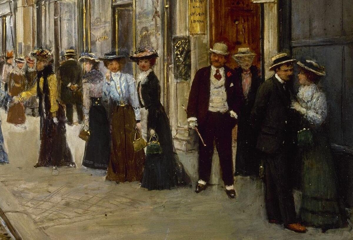 Жан Беро, Служащие выходят из Дома Пакен на улице де ля Пэ, 3, фрагмент