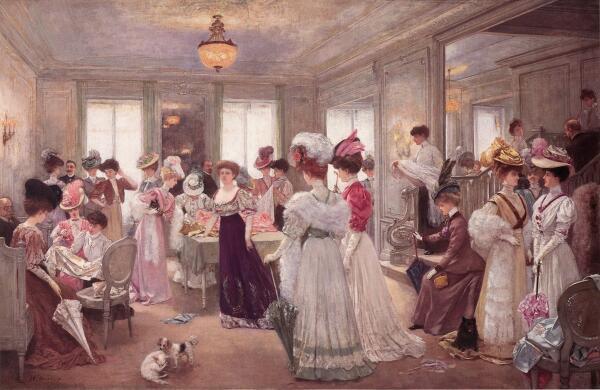 Анри Жерве, Пять часов в Доме Пакен, 1906, 300×172 см, частная коллекция