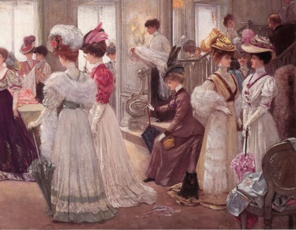 Анри Жерве, Пять часов в Доме Пакен, 1906, 300×172 см, фрагмент