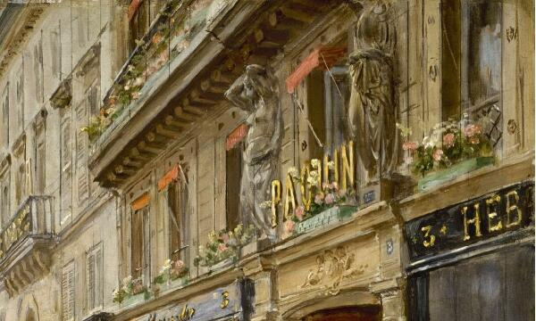 Жан Беро, Служащие выходят из Дома Пакен на улице де ля Пэ, 3, фрагмент «Вывеска»