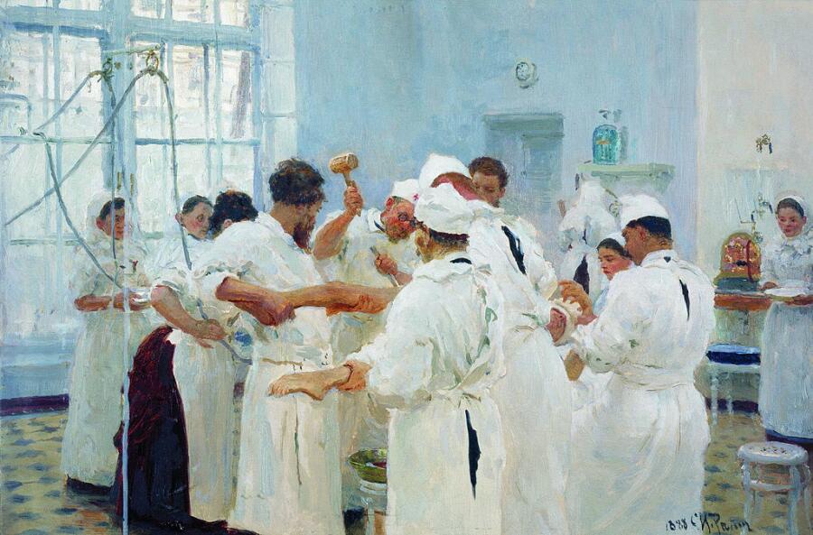 И. Е. Репин, «Хирург Евгений Васильевич Павлов в операционном зале»