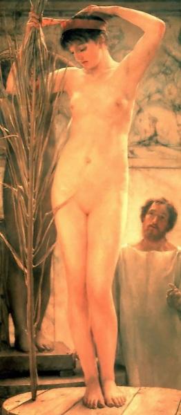Альма-Тадема сэр Лоуренс, Скульптор и возле своей модели Венеры Эсквиллина, 1877, 86х196 см, частная коллекция
