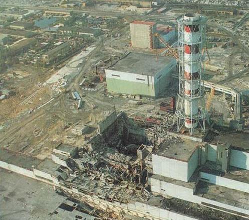 Четвертый блок ЧАЭС после аварии