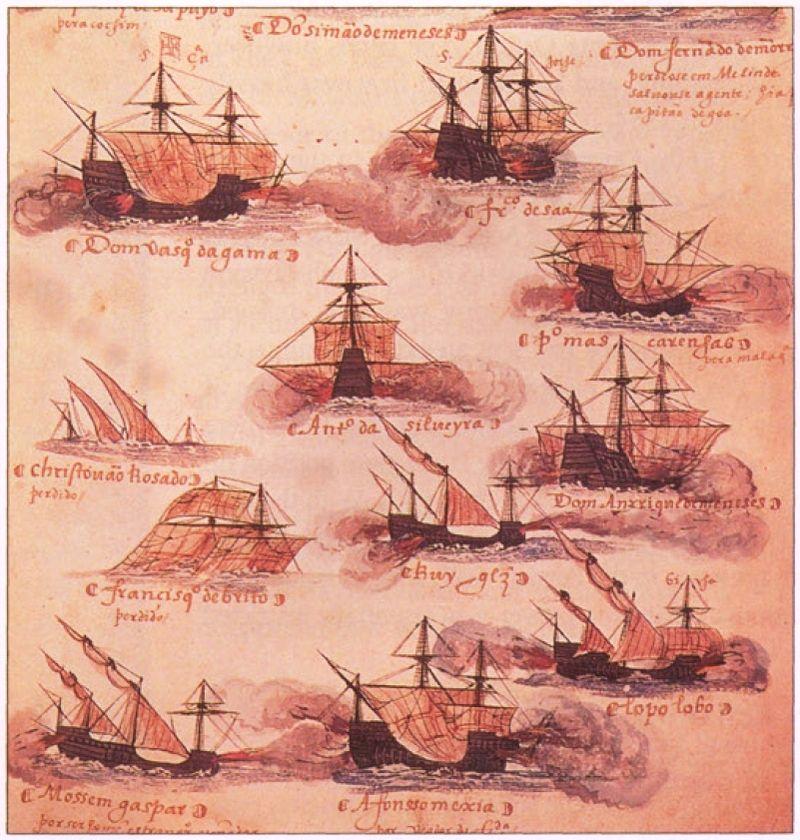 Три caravelas de armada среди кораблей индийской армады в иллюстрации XVI века
