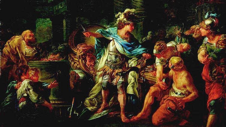 Картина французского живописца Жана-Симона Бартелеми «Александр Македонский рассекает гордиев узел». 1767 год