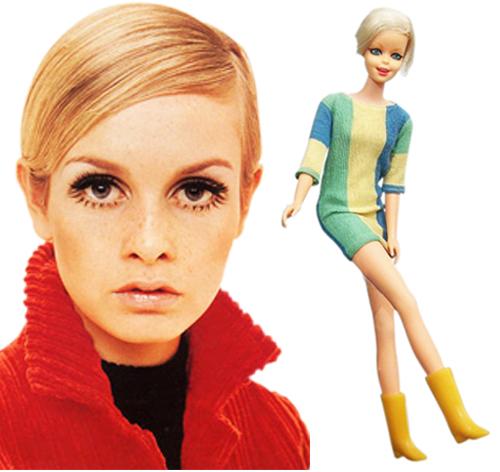 Твигги и изображающая её кукла Барби