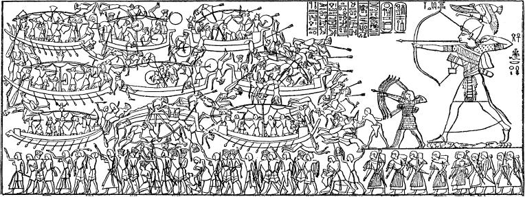 Рамсес III отражает нападение народов моря. Иллюстрация из книги Э. Адольфа «Государство, армия и общество Древнего Египта»