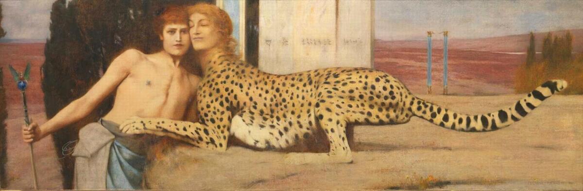 На своей картине «Искусство, или нежность сфинкса» (1896) Фернан Кнопф изобразил сфинкса с головой женщины и туловищем гепарда.